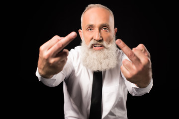 man showing middle fingers