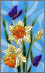 Illustration in stained glass style with a bouquet of yellow daffodils and blue butterflies on a blue background