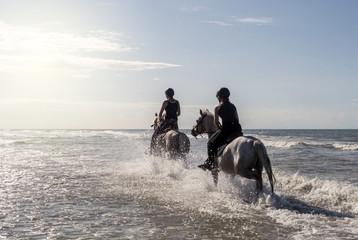 Papiers peints Equitation 2 cavalières à vive allure dans l'eau de mer