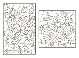 Set contour illustrations of stained glass with flowers, a Pansy and a branch of a flowering tree