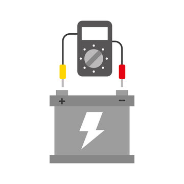 car battery with tester device electrical equipment vector illustration