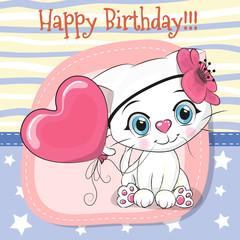 Cute Cartoon Kitten with balloon