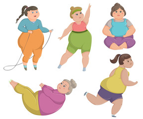 Overweight fat women are doing sports. Vector illustration