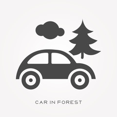 Silhouette icon car in forest