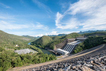 Power plant electricity generation on dam srinakarin in valley at national park