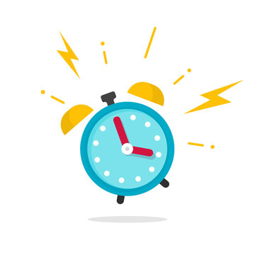 Alarm ringing icon vector illustration, flat carton alarm clock bells sound isolated on white