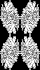 Alchemic Element of Earth sign. Vertical vignette. Down pointing triangles with rose garland and spiky Crystals. EPS 10 Seamless Pattern