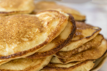 close up of pancakes on a plate