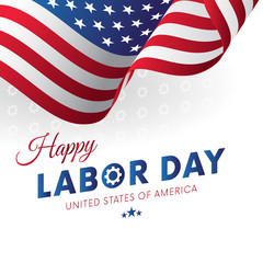 Happy Labor Day. White background. Gears background. Waving flag. Vector illustration.