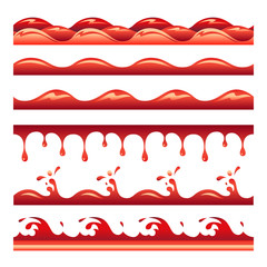 Red poisoned water or blood drops vector seamless tiles set