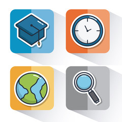 school elements related icons over colorful squares and white background vector illustration