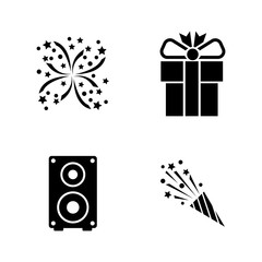 Events. Simple Related Vector Icons Set for Video, Mobile Apps, Web Sites, Print Projects and Your Design. Black Flat Illustration on White Background.