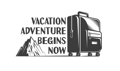 Vacation adventure retro logo with a suitcase on wheels and a mountain