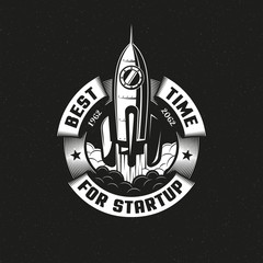 Startup rocket round logo on black background. Vector illustration.
