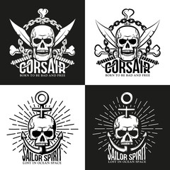 Retro pirate tattoo, emblem with skull, crossed bones, sabers and anchor. For white and dark background. Vector illustration.