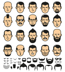 Set of men faces template with different stylish beards, mustaches, and haircuts.  Vector illustration