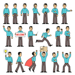 A man in a shirt and pants set of various poses - stands, runs, greets, works, speaks on the phone and so on. Vector illustration.