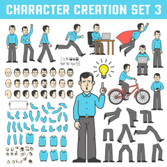 A man in a shirt and trousers in various poses. The office worker stands, runs, goes, rejoices, rides a bicycle, flies like a superhero. A set of body parts and faces to create a character.