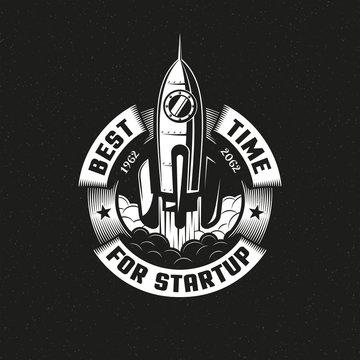 Startup rocket round logo on black background. Vector illustration.