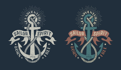 Marine logo, with anchor and heraldic ribbons on dark background. Monochrome and color in retro tones. Worn texture on a separate layer and can be easily disabled.