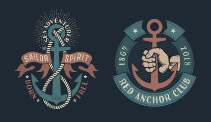 Two vintage nautical logos with an anchor, heraldic ribbons, ropes, hand of sailor. Dark background. Shabby worn texture on a separate layer and can be disabled