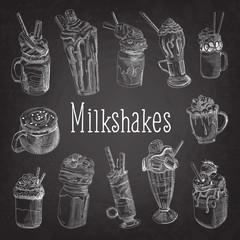 Milkshake and Ice Cream Hand Drawn Doodle. Dessert Drinks on Chalkboard. Vector illustration