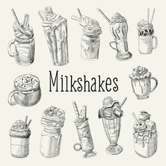 Milkshake and Ice Cream Hand Drawn Doodle. Dessert Drinks Isolated on white Background. Vector illustration