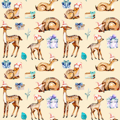 Seamless pattern with watercolor deers in Christmas hats, baby deers and gift boxes, hand painted isolated on beige background