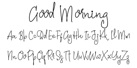 Vector Alphabet. Good Morning. Calligraphic font. Unique Custom Characters. Hand Lettering for Designs - logos, badges, postcards, posters, prints. Modern brush handwriting Typography.