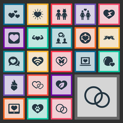 Vector Illustration Set Of Simple Feelings Icons. Elements Eco, Flash, Care And Other Synonyms Lovers, Hearth And Butterfly.