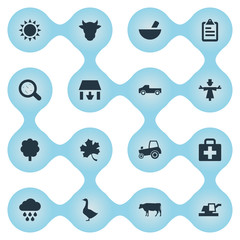 Vector Illustration Set Of Simple Agricultural Icons. Elements Forecast, Medicament, Farm Vehicle And Other Synonyms Data, Forest And Medicament.