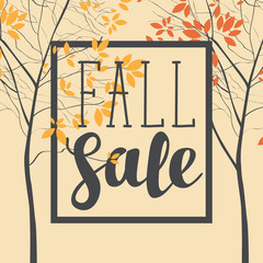 Vector banner with the words Fall sale. Autumn landscape with autumn leaves on the branches of trees in a Park or forest. Can be used for flyers, banners or posters.