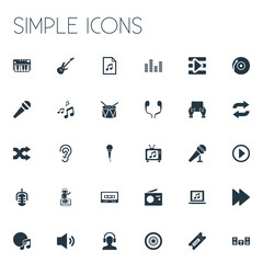 Vector Illustration Set Of Simple Music Icons. Elements Synthesizer, Microphone, Album And Other Synonyms Next, Piano And Earmuff.