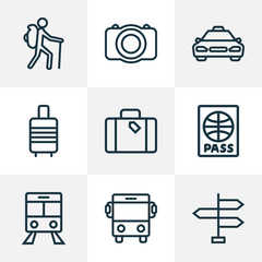Traveling Outline Icons Set. Collection Of Video, Suitcase, Taxi And Other Elements. Also Includes Symbols Such As Direction, Photo, Taxi.