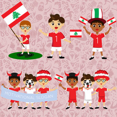 Set of boys with national flags of Lebanon. Blanks for the day of the flag, independence, nation day and other public holidays. The guys in sports form with the attributes of the football team