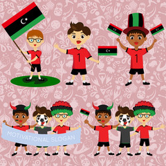 Set of boys with national flags of Libya. Blanks for the day of the flag, independence, nation day and other public holidays. The guys in sports form with the attributes of the football team