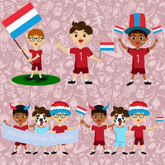 Set of boys with national flags of Luxembourg. Blanks for the day of the flag, independence, nation day and other public holidays. The guys in sports form with the attributes of the football team