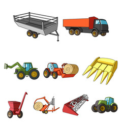 Set of pictures about agricultural machinery. Cars to robots to the ground.Agricultural Machinery icon in set collection on cartoon style vector symbol stock illustration.