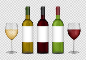 Transparent wine bottles and wineglasses mockup. red and white wine in bottle and glasses isolated. Vector illustration.