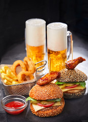 burgers with beer