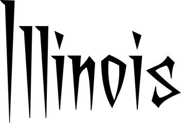 Illinois text sign illustration