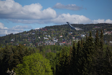 View from the Vigeland Park towards Oslo's Ski jump Holmenkollen