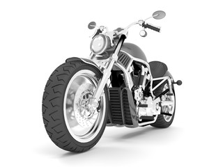 3d illustration classic black gray motorcycle on a white background.