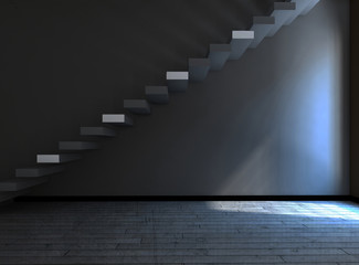 stairs in  the dark room, 3d