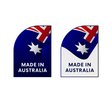 Stickers Made in Australia. Vector illustration.