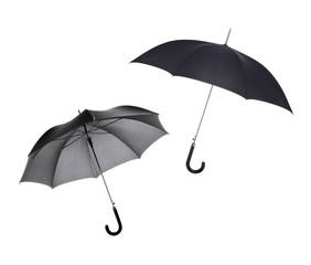 Black umbrellas on a white background