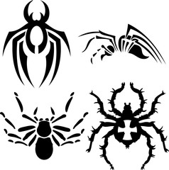 Spider Vector Designs for Tattoo and Vector on White Background