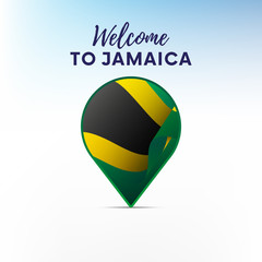 Flag of Jamaica in shape of map pointer or marker. Welcome to Jamaica. Vector illustration.