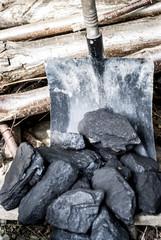 Shovel and coal reserve.Coal.