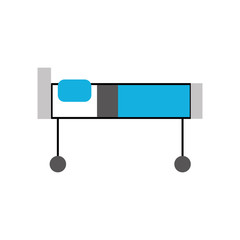 hospital bed with pillow and wheels vector illustration